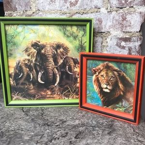 Vintage Lion & Elephant Framed Pictures 70s retro